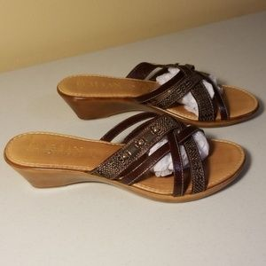 Italian Shoemakers Strappy Low Wedge Wooden Mules